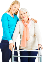 elderly woman with a walker with her caregiver