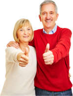 elderly couple showing thumbs up